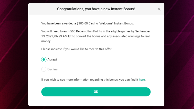 Fonctionnement des bonus instantanés